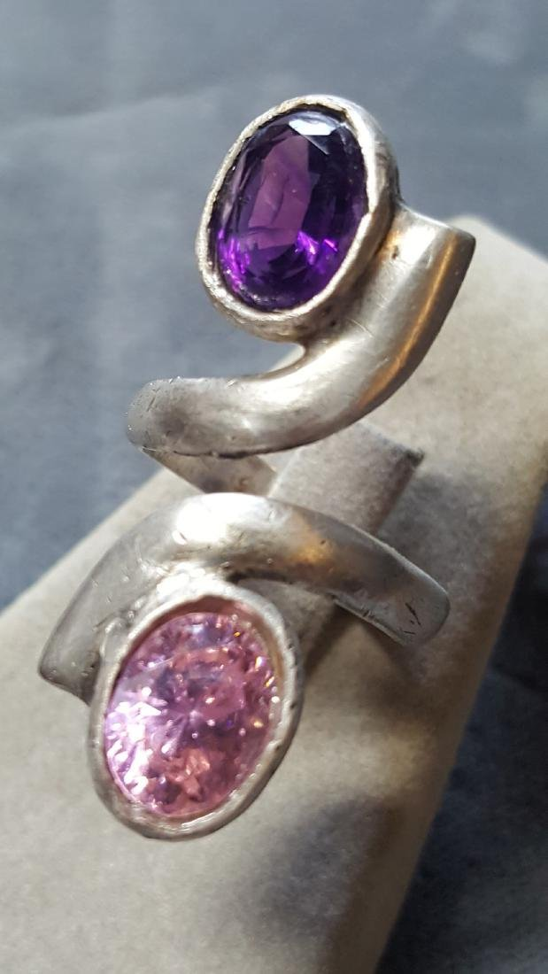 925 Tourmaline/Amethyst Ring - 3