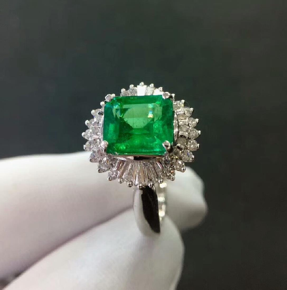2.7ct Emerald Ring in 18kt white Gold - 5