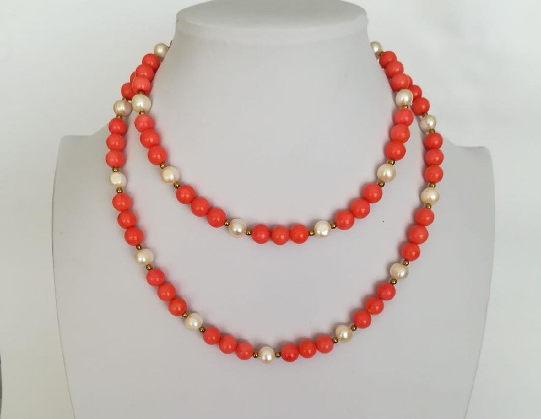 19,2 kt - Pink coral necklace 8 mm + Australian pearl 8