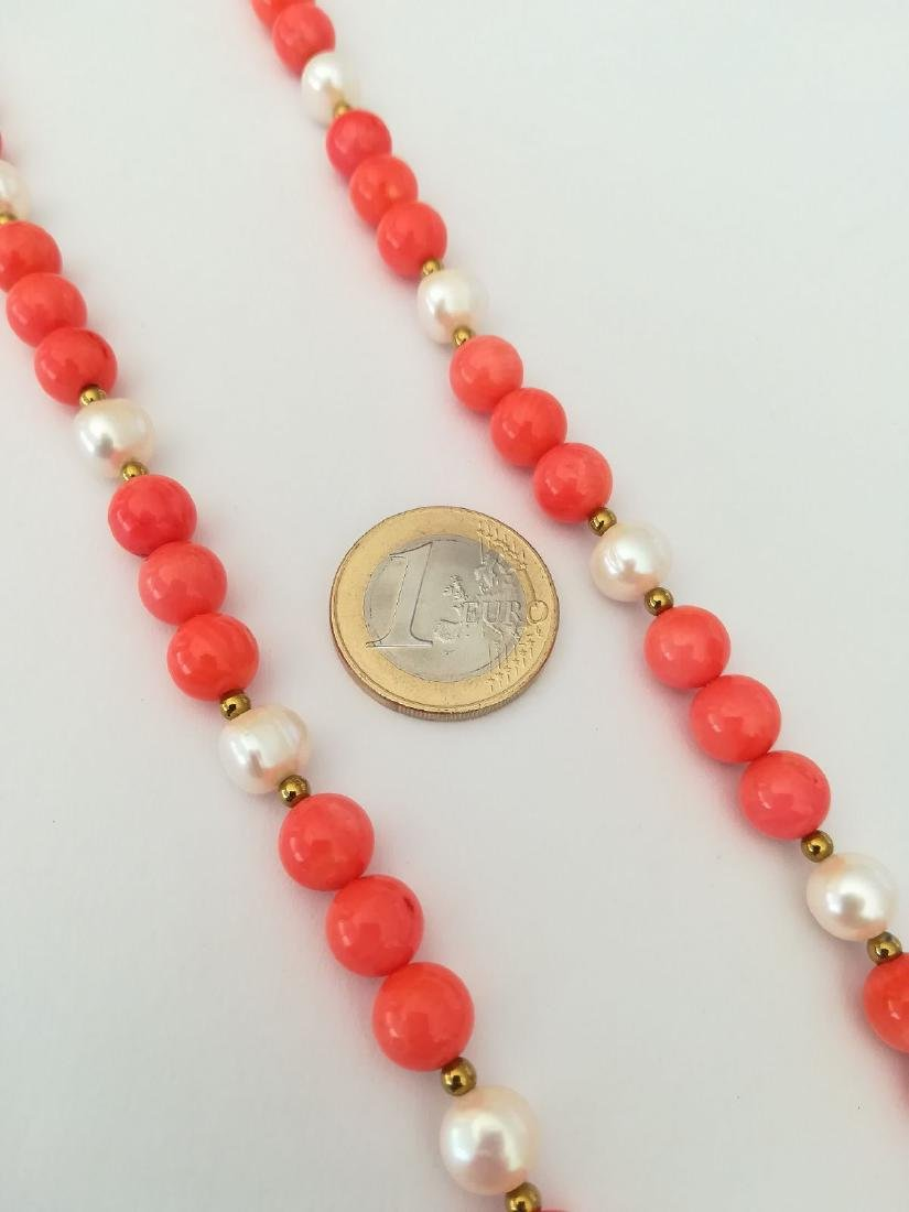 19,2 kt - Pink coral necklace 8 mm + Australian pearl 8 - 2