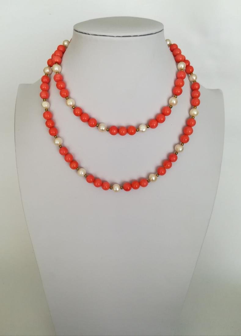 19,2 kt - Pink coral necklace 8 mm + Australian pearl 8 - 3