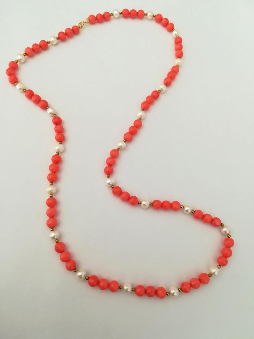19,2 kt - Pink coral necklace 8 mm + Australian pearl 8 - 4