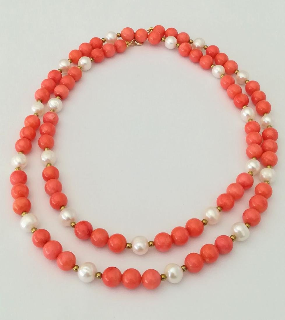 19,2 kt - Pink coral necklace 8 mm + Australian pearl 8 - 5