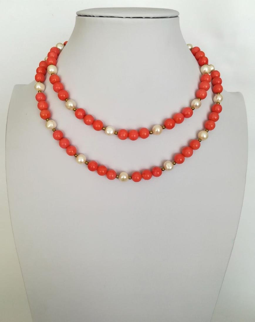 19,2 kt - Pink coral necklace 8 mm + Australian pearl 8 - 6