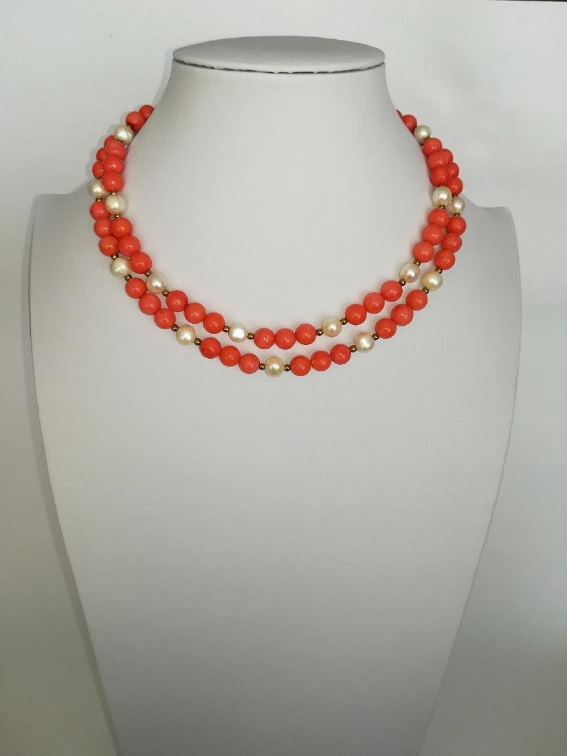 19,2 kt - Pink coral necklace 8 mm + Australian pearl 8 - 7