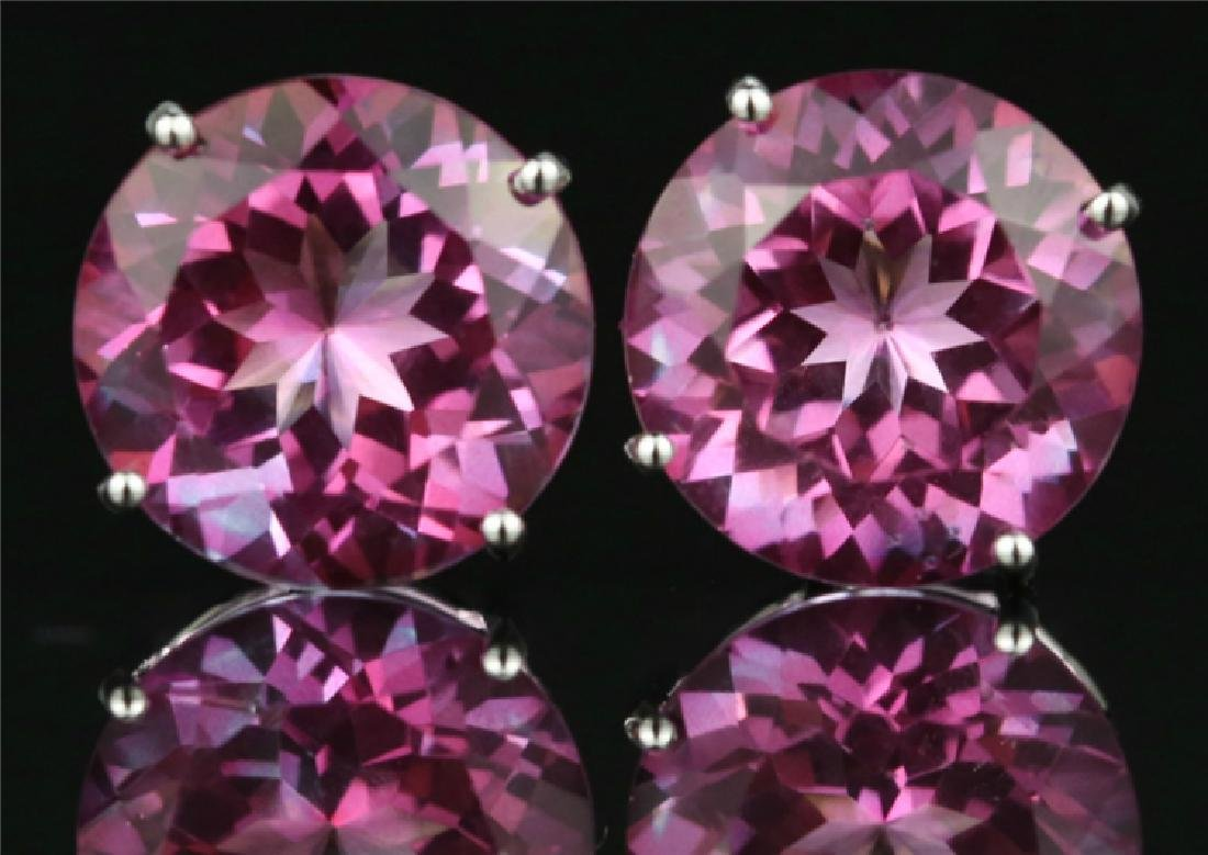 Pink Topaz stud earring with 18K white gold