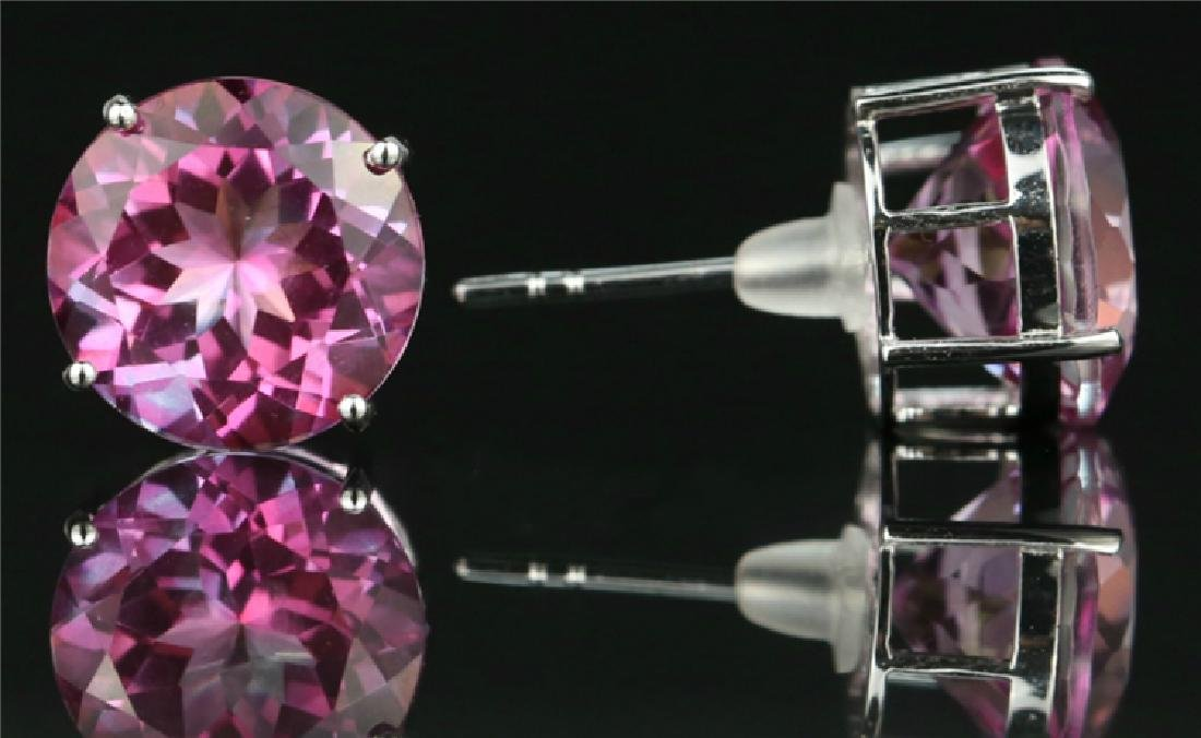 Pink Topaz stud earring with 18K white gold - 2