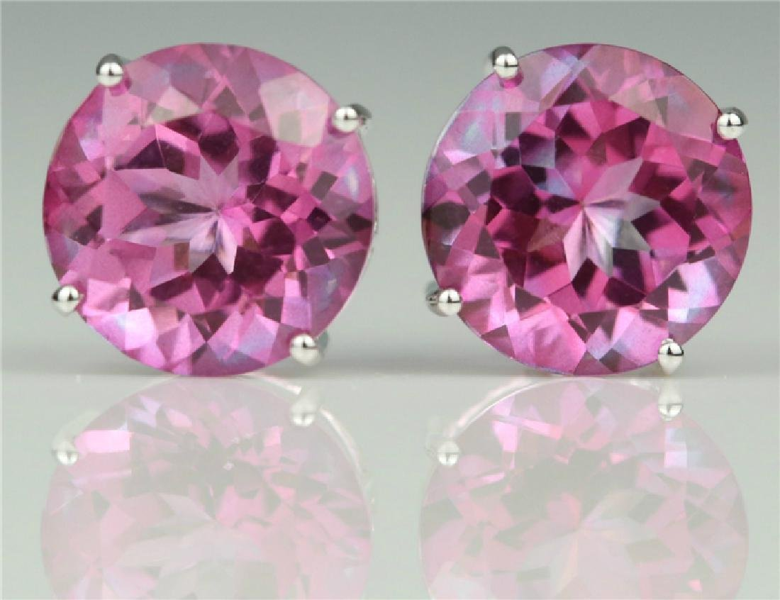 Pink Topaz stud earring with 18K white gold - 4