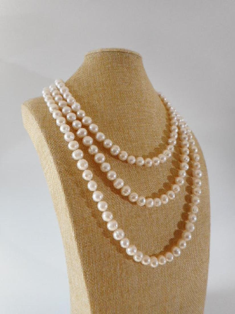 Pearl necklace of white baroque cultured freshwater - 2