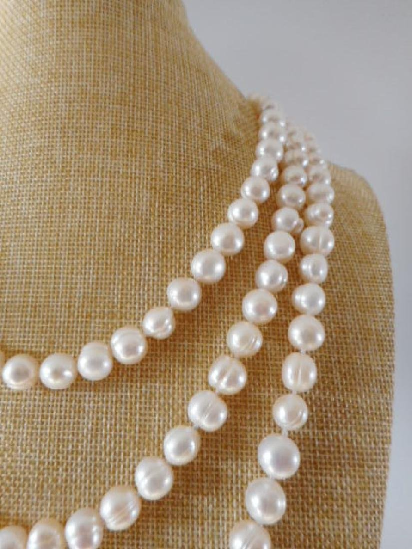 Pearl necklace of white baroque cultured freshwater - 3