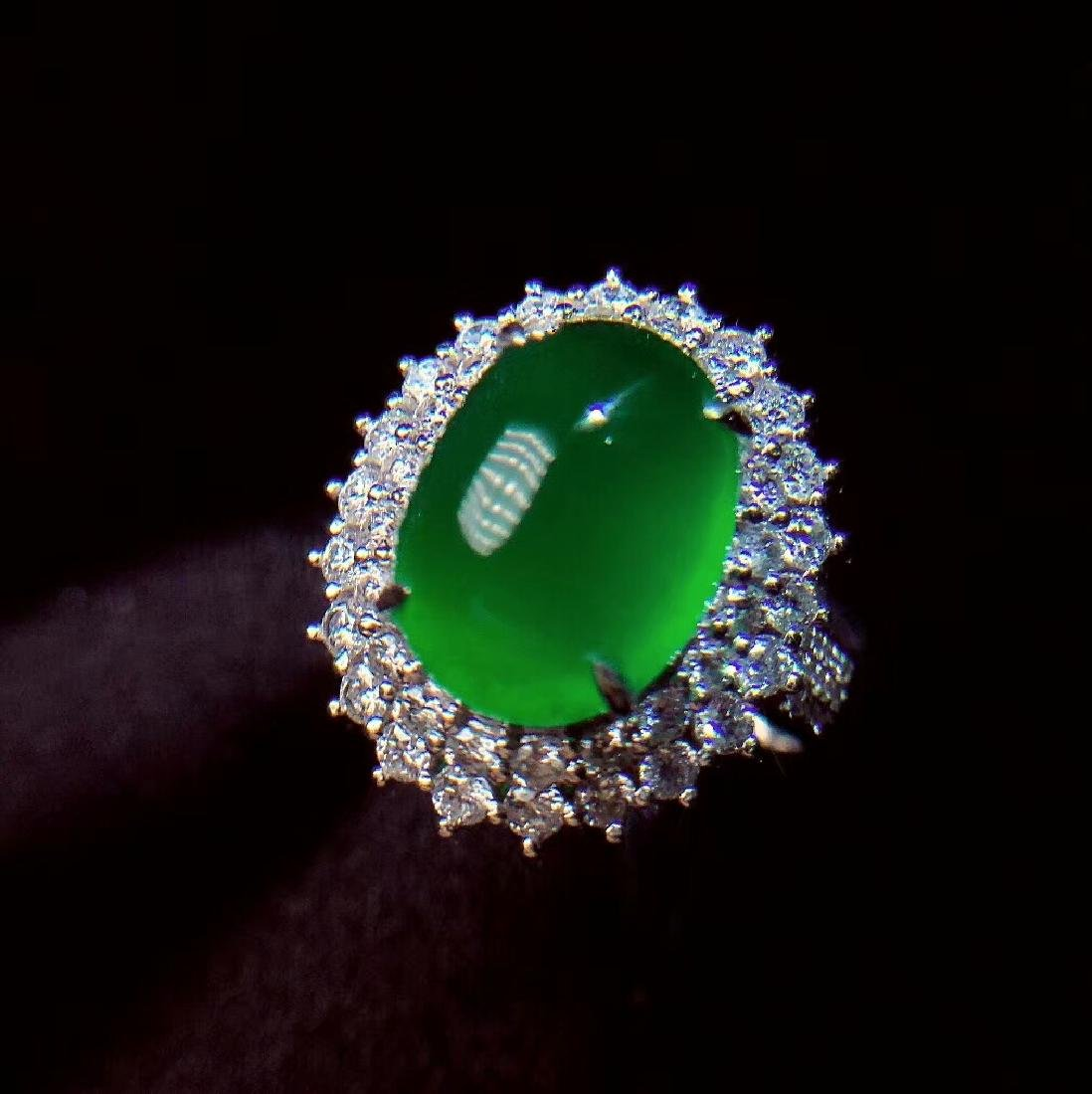 7.6ct Emerald Ring in 18kt White Gold - 3