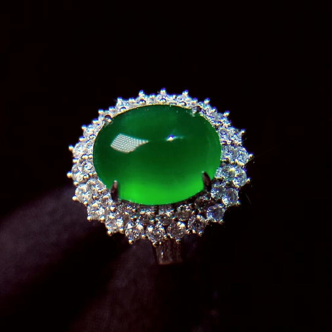 7.6ct Emerald Ring in 18kt White Gold - 4