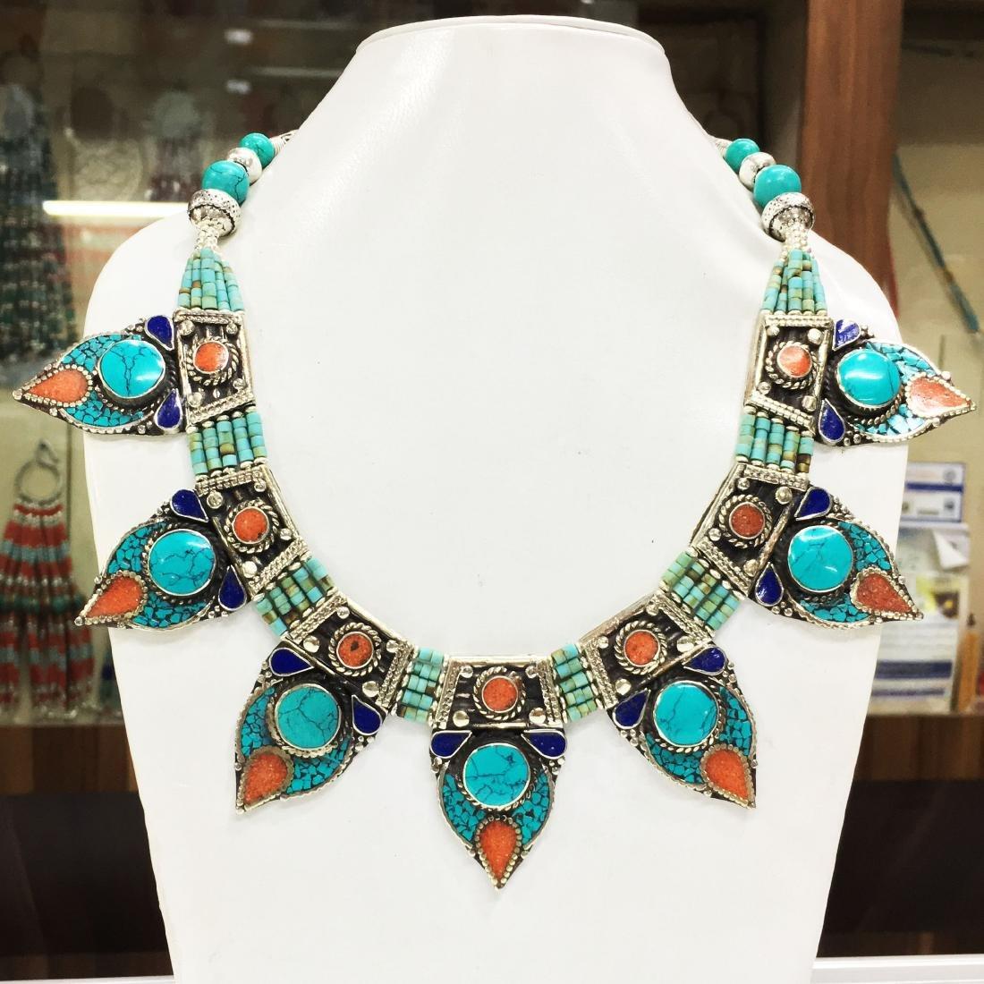 Bohemian Turquoise & Coral vintage Necklace