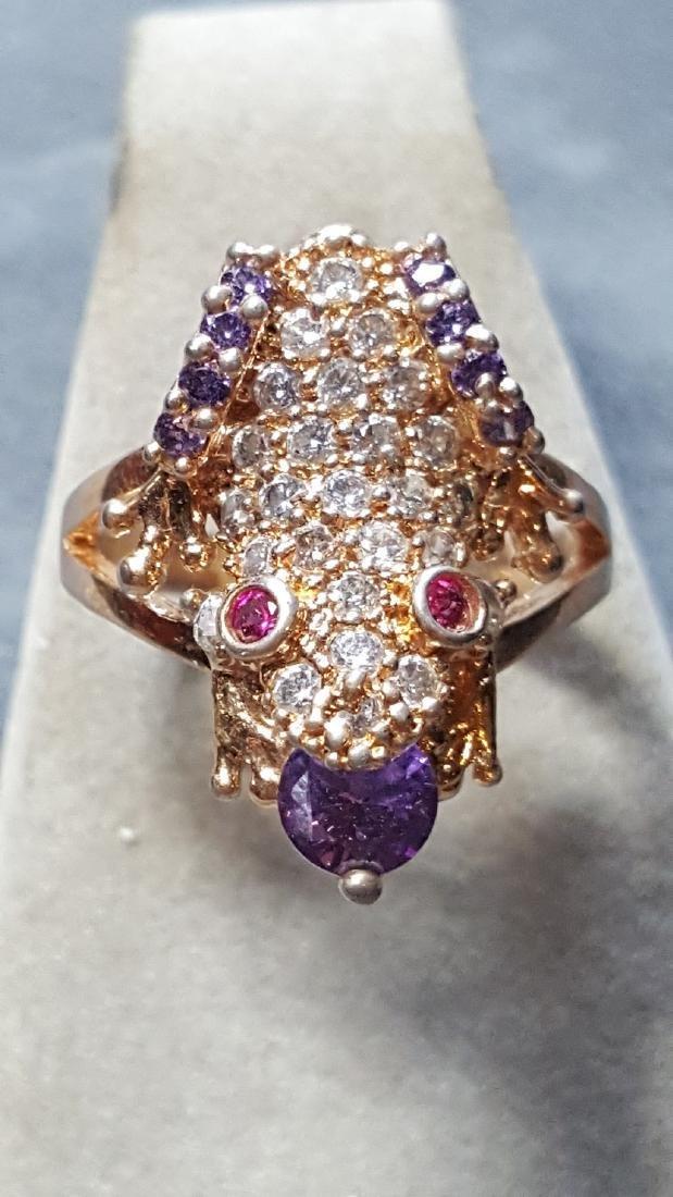 Multi-Gem 14kt Gold Frog Ring