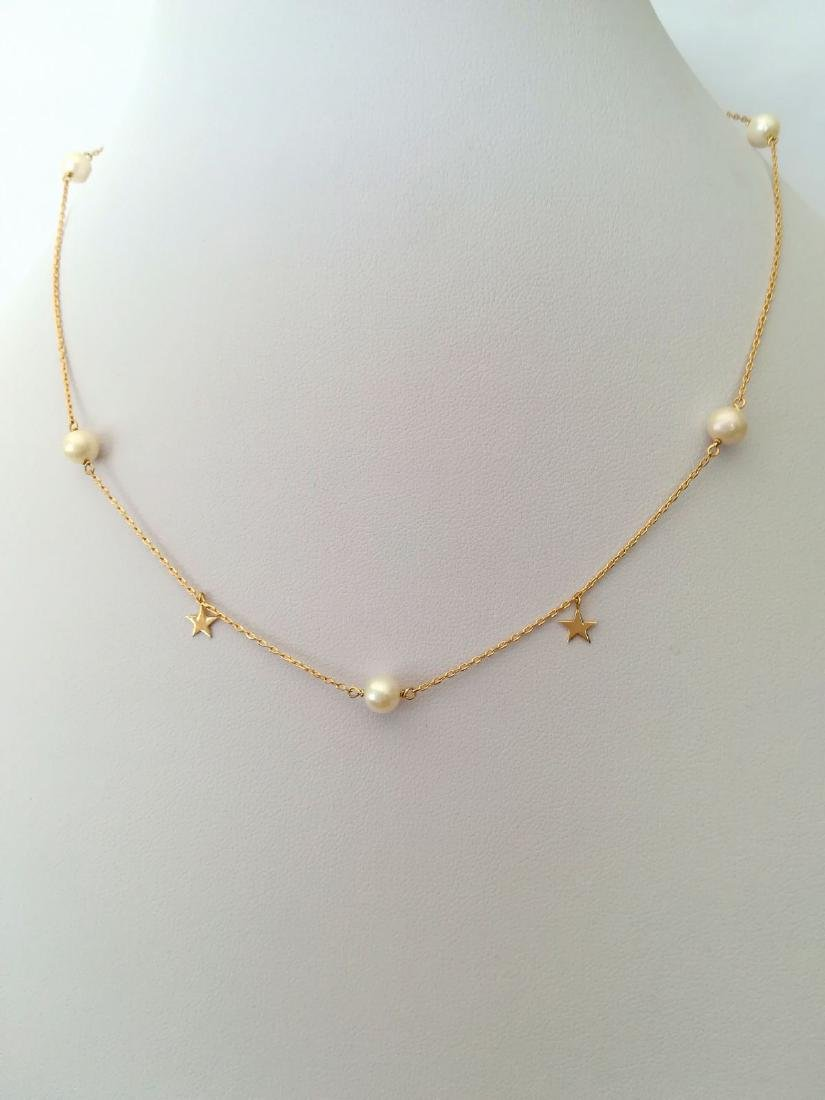 19.2 carat gold necklace with pearls 3.3 grams - 10