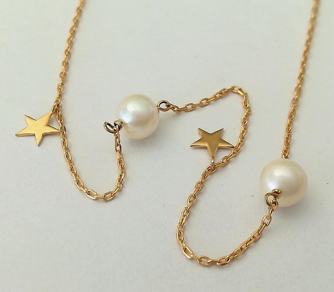19.2 carat gold necklace with pearls 3.3 grams