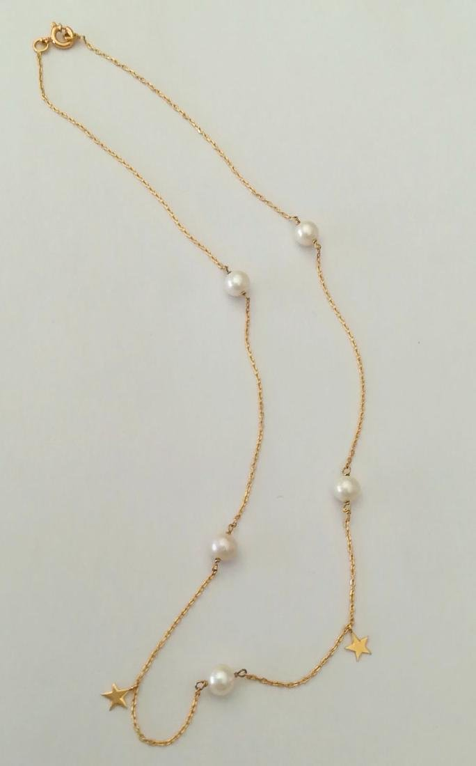 19.2 carat gold necklace with pearls 3.3 grams - 3