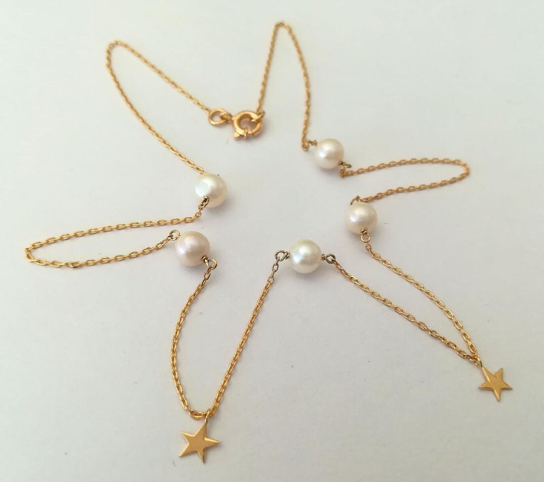 19.2 carat gold necklace with pearls 3.3 grams - 6