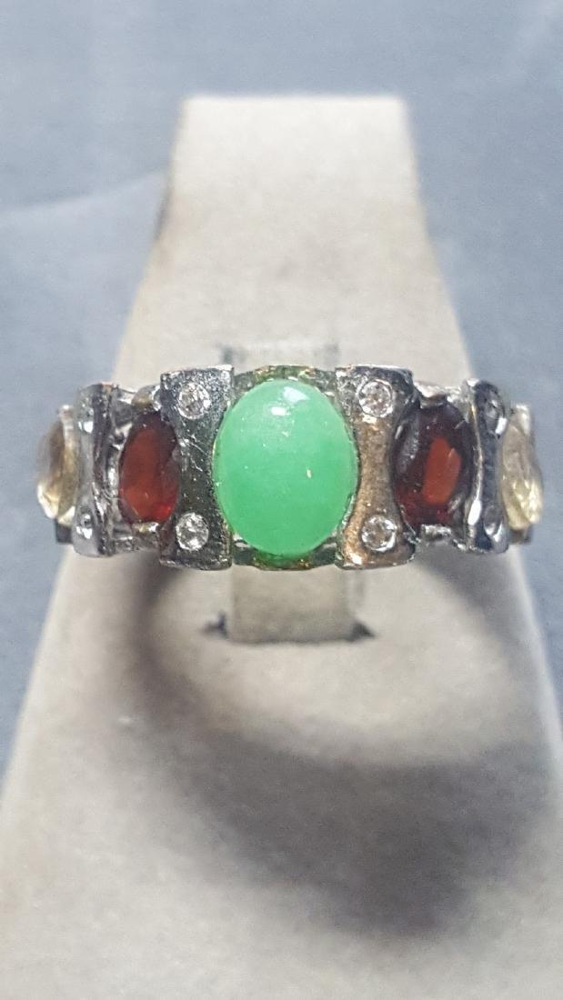 Silver Jade Garnet Citrine Band Ring