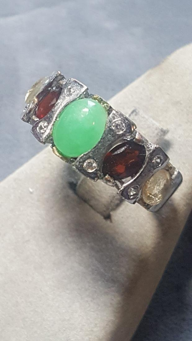 Silver Jade Garnet Citrine Band Ring - 2