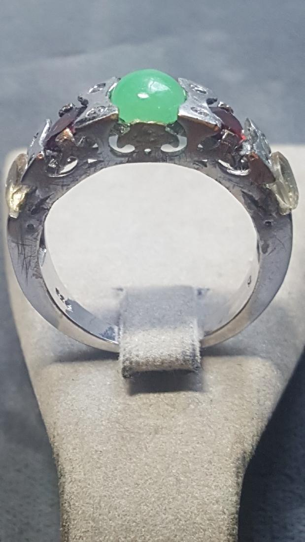 Silver Jade Garnet Citrine Band Ring - 3