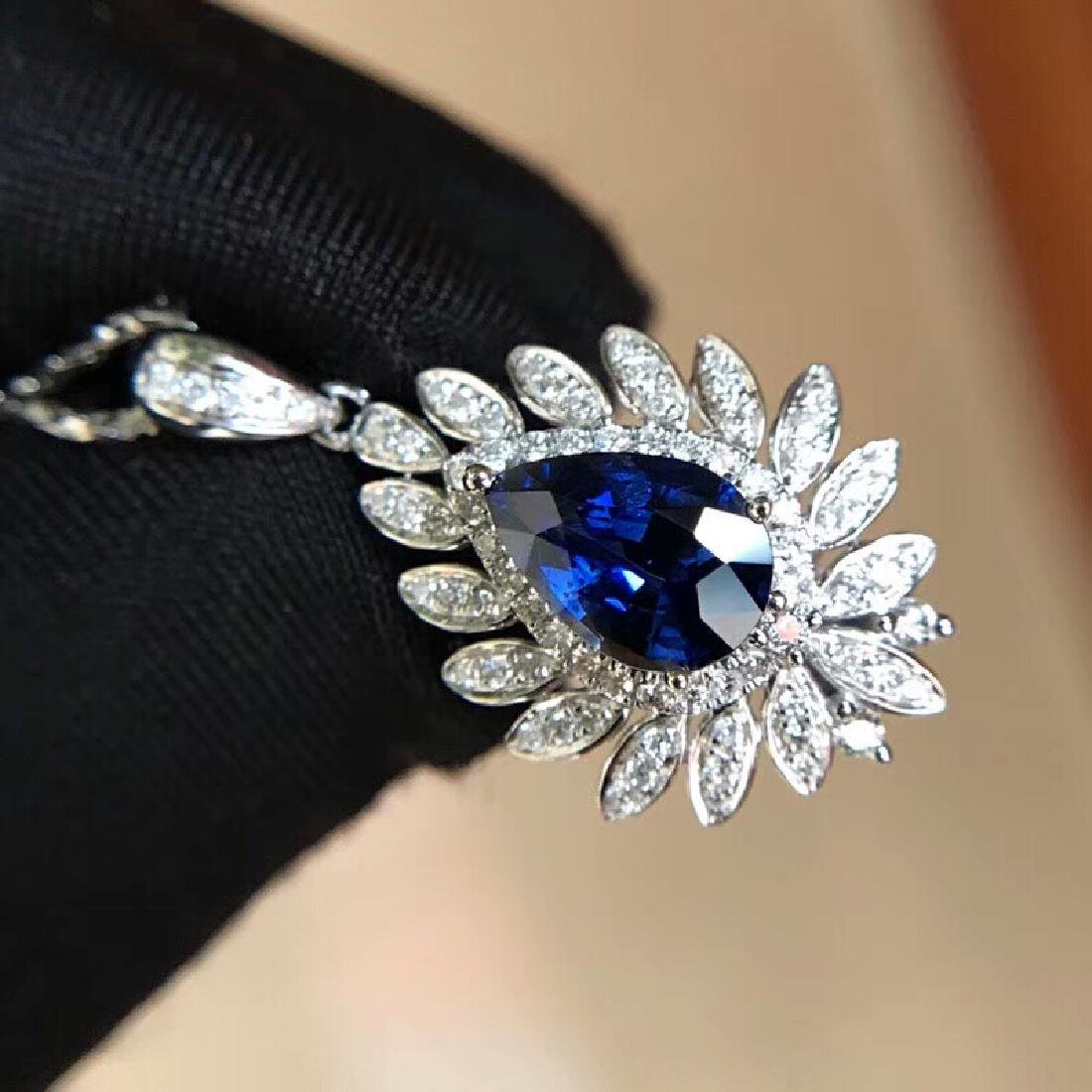 1.3ct Sapphire Pendant in 18kt White Gold - 4