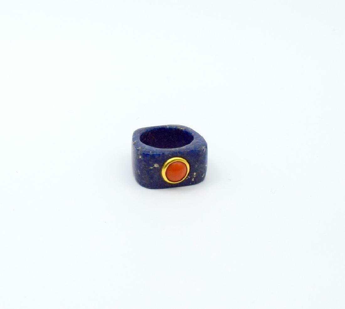 24 carat gold Lapis and coral ring - 5