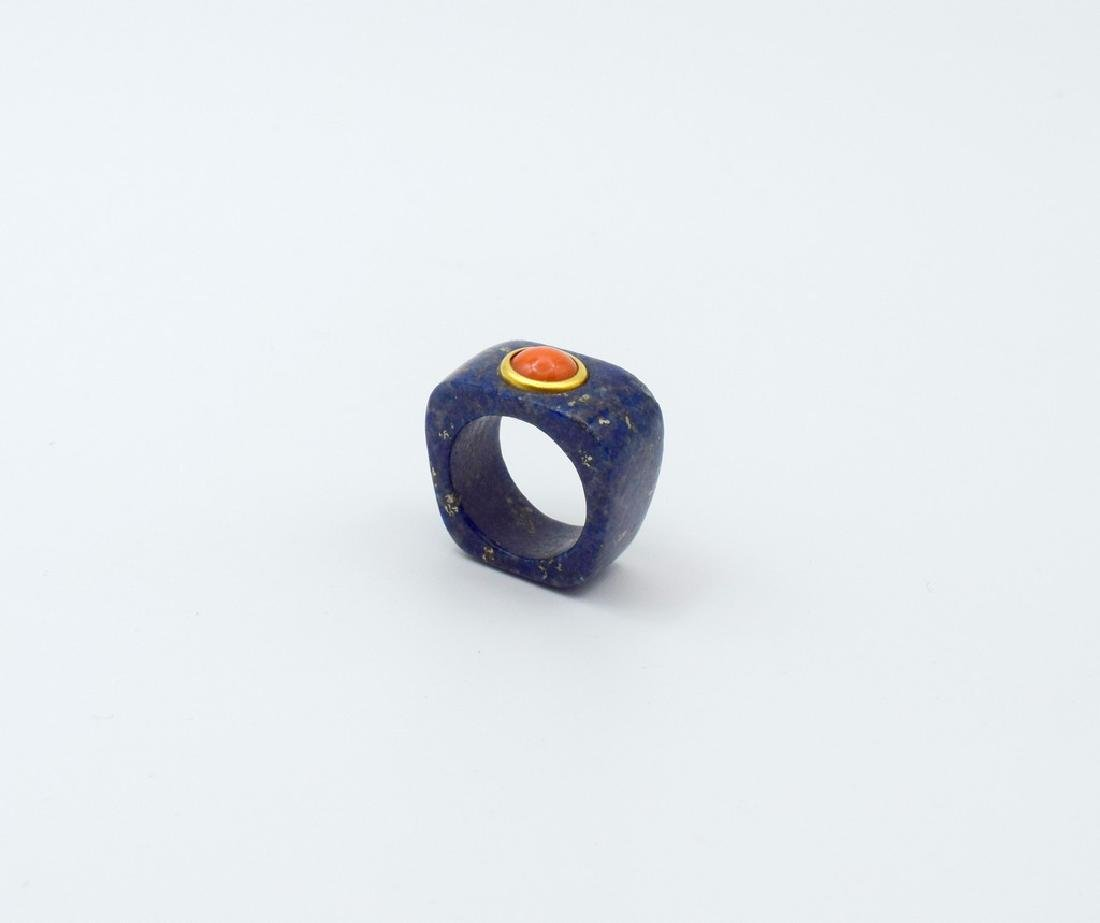 24 carat gold Lapis and coral ring - 6