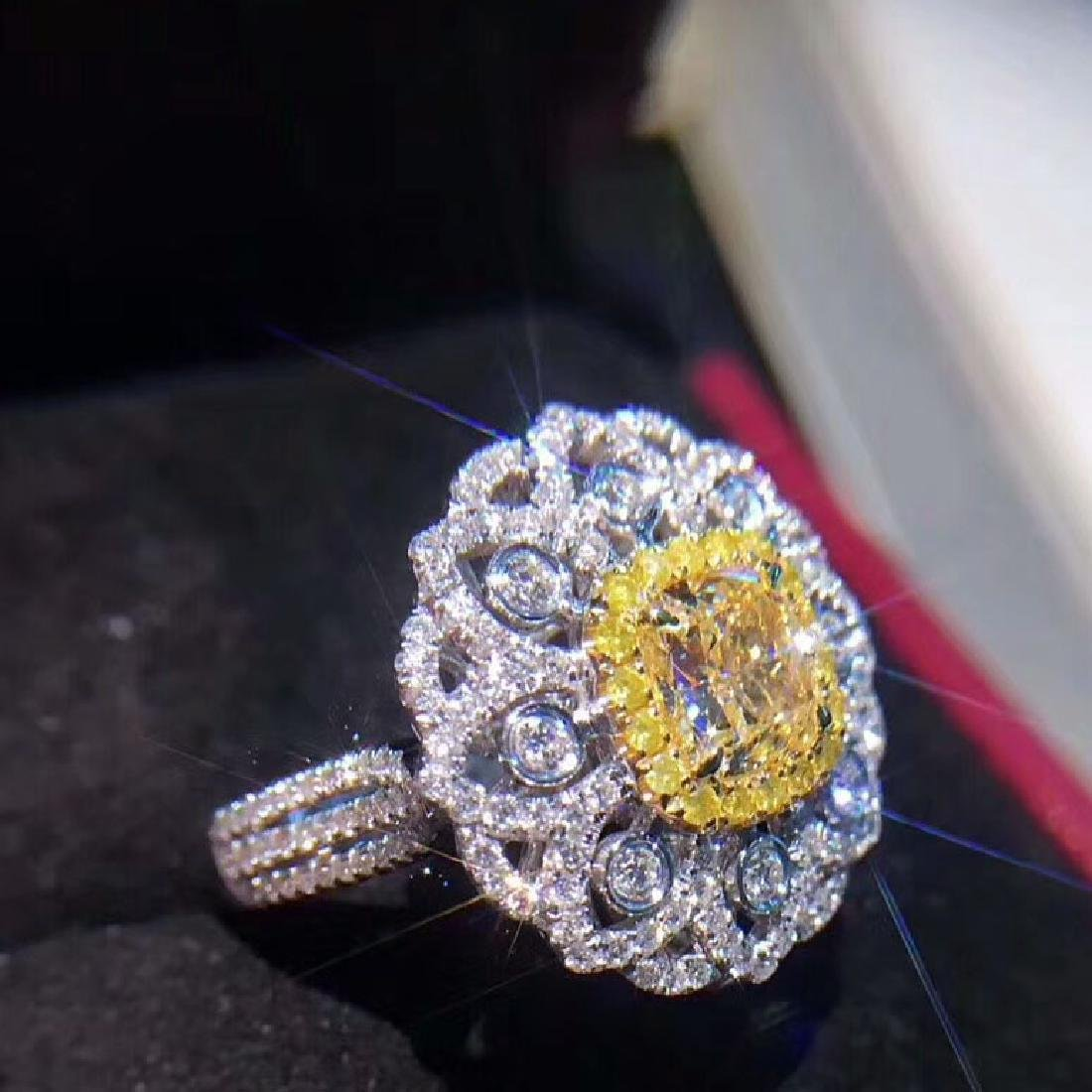 1.52 CTW VS Yellow Diamond Ring 18K - 2