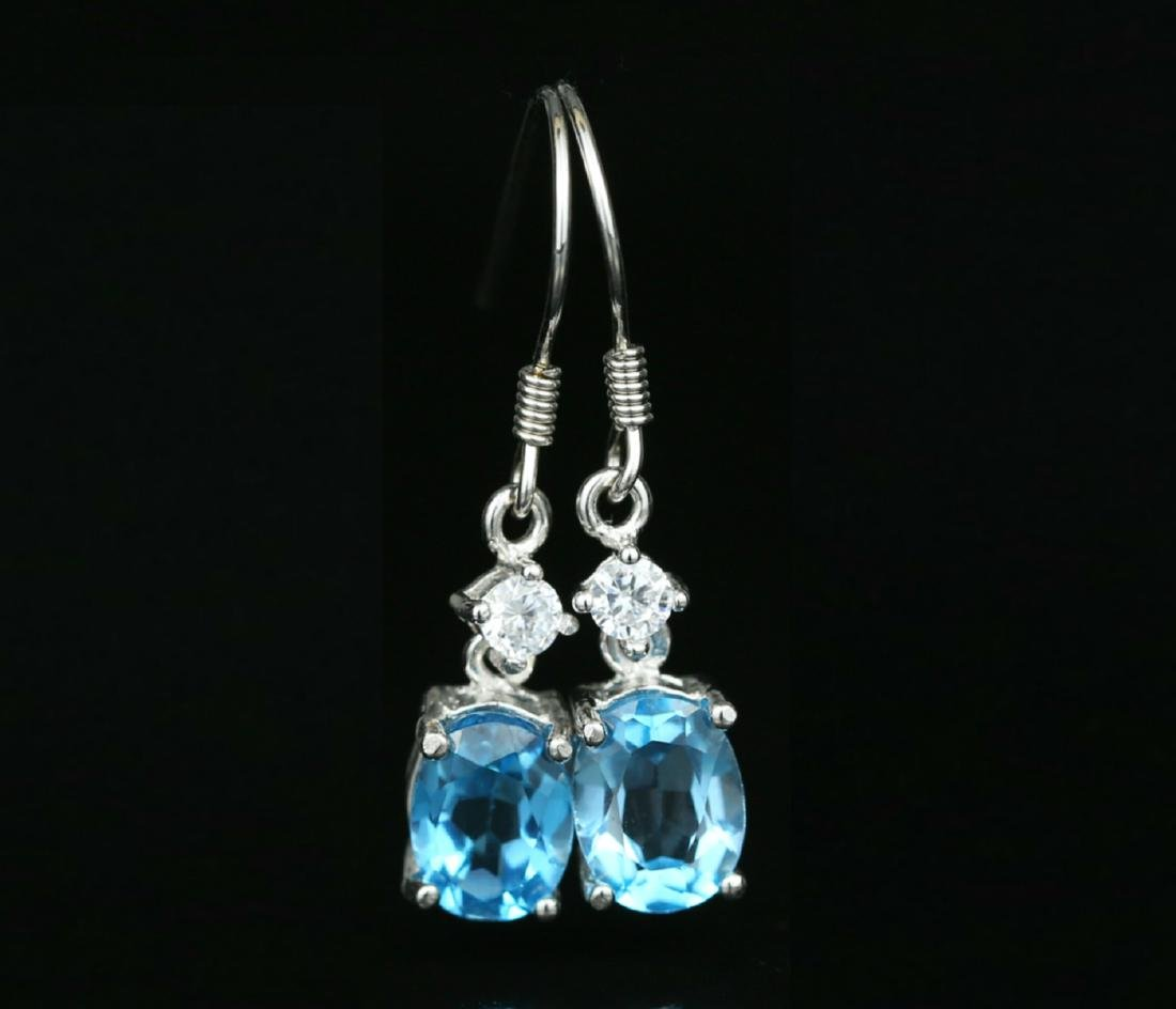 925 silver earring with blue Topaz 4.0ct.