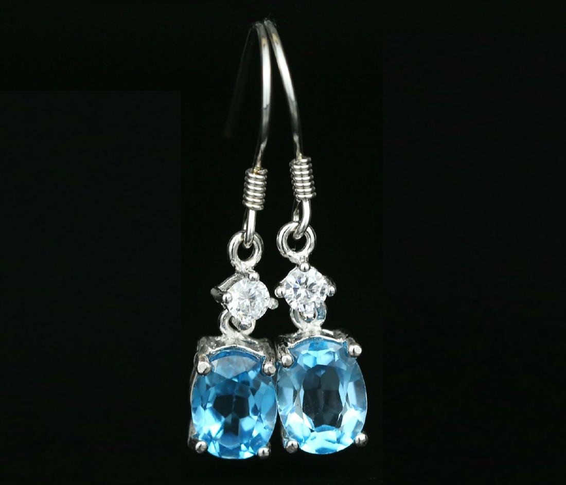 925 silver earring with blue Topaz 4.0ct. - 2