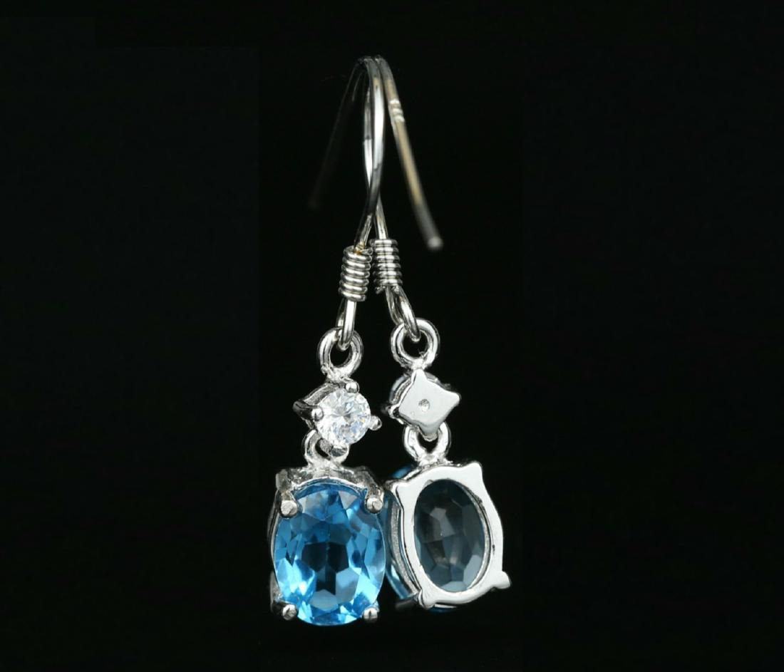 925 silver earring with blue Topaz 4.0ct. - 3