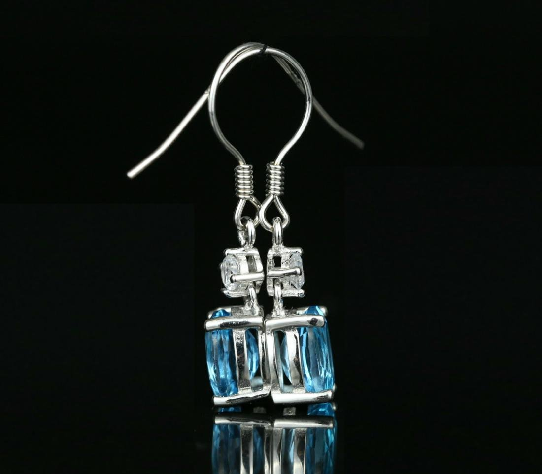 925 silver earring with blue Topaz 4.0ct. - 4
