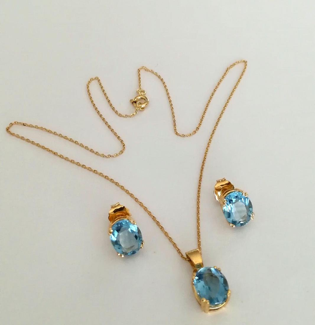 19.2 carats - necklace set with gold pendant and
