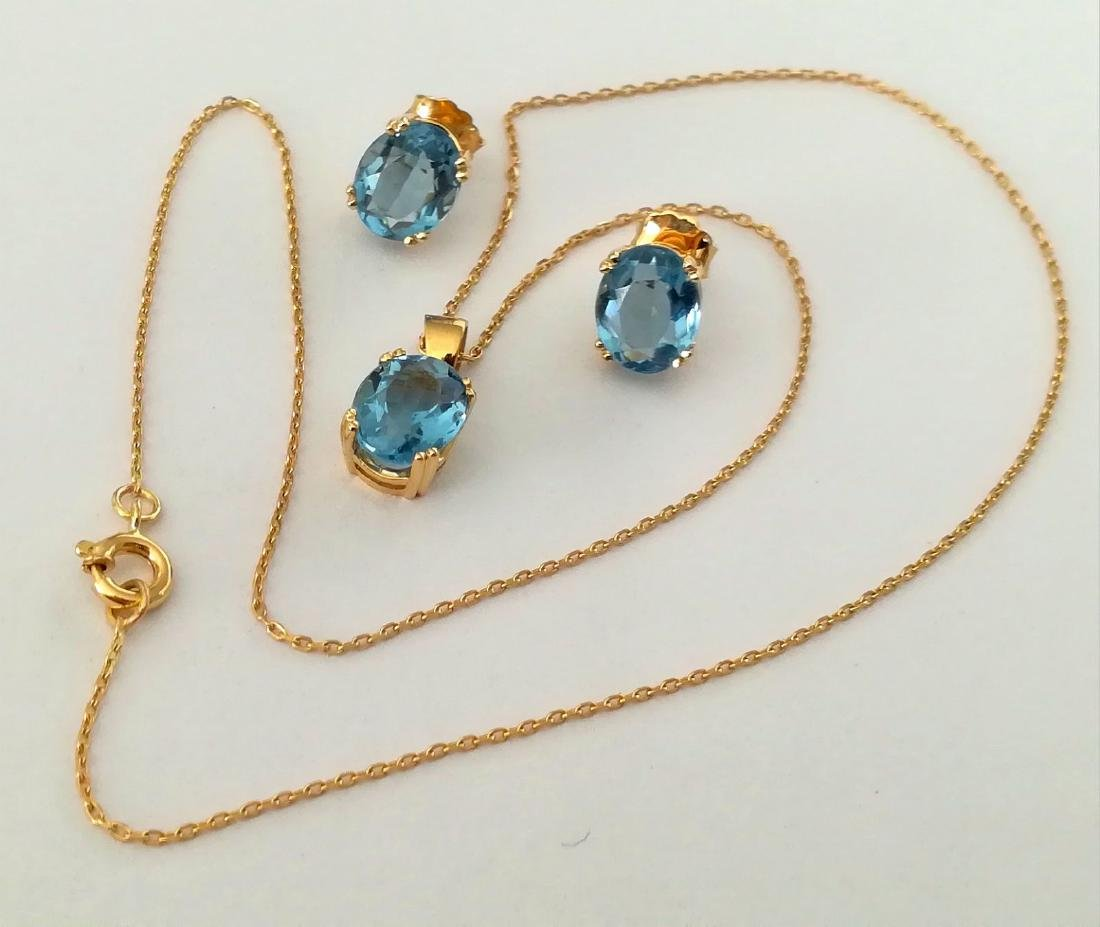 19.2 carats - necklace set with gold pendant and - 2
