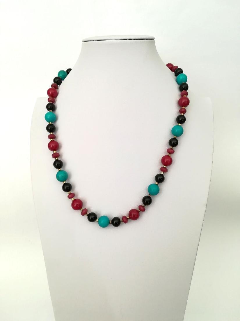 19.2 kt – Turquoise + Onyx + Ruby + Pink tourmaline - 2