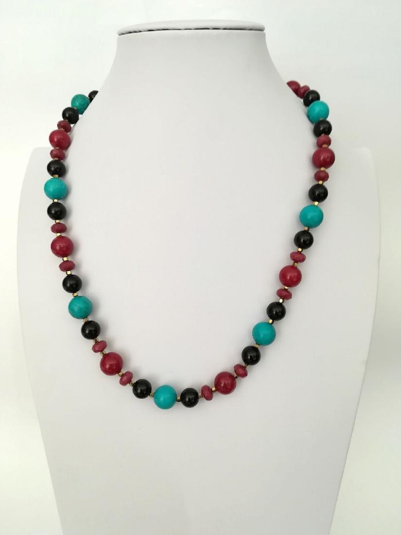 19.2 kt – Turquoise + Onyx + Ruby + Pink tourmaline - 4