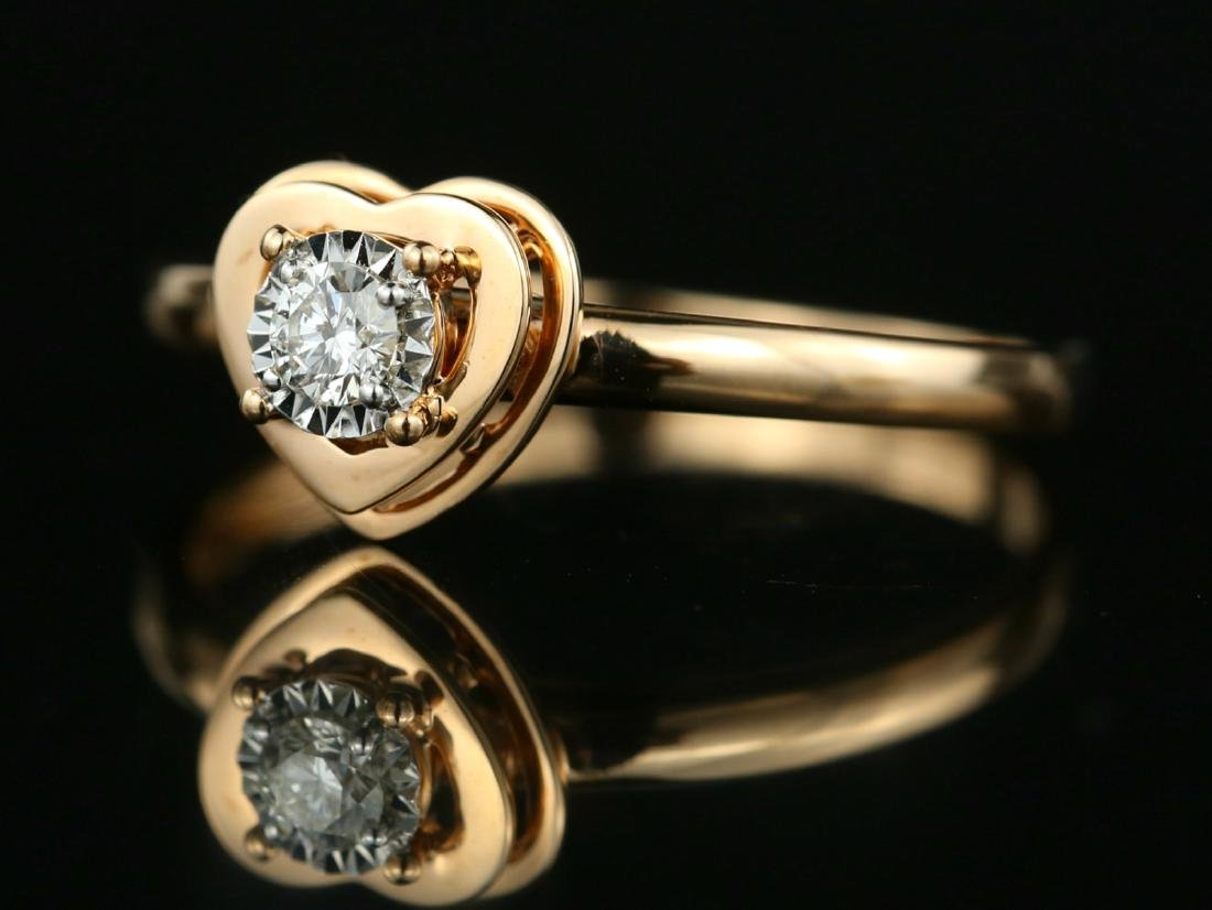 18Kt Rose gold solitaire engagement Diamond ring - 3