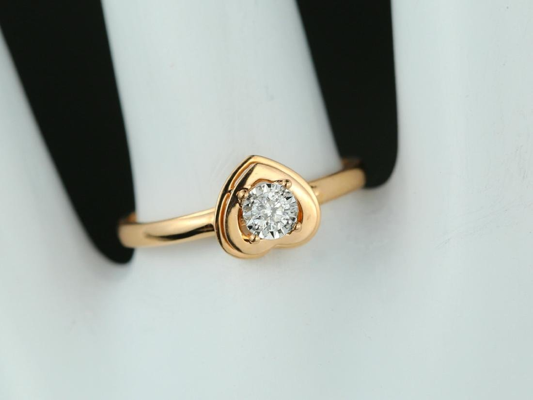 18Kt Rose gold solitaire engagement Diamond ring - 7