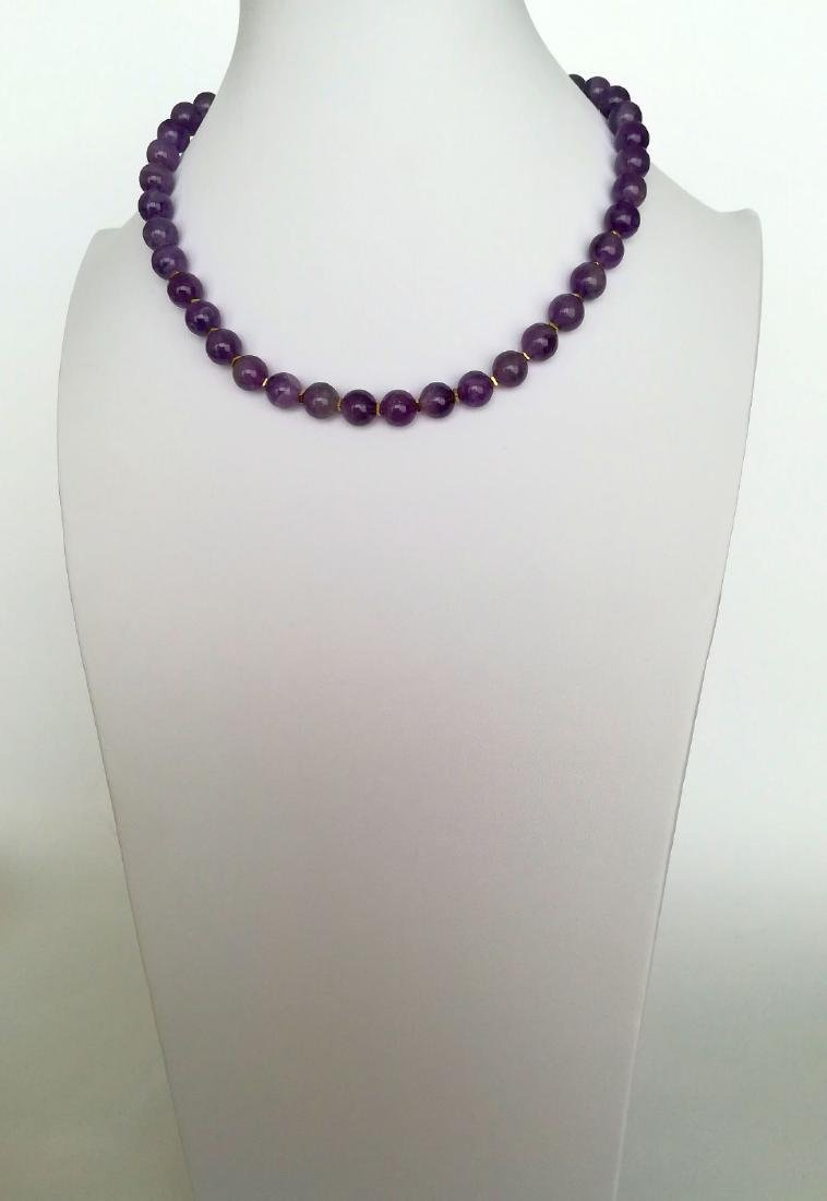 19.2kt – 10mm amethyst necklace – Gold hoop clasp - 6
