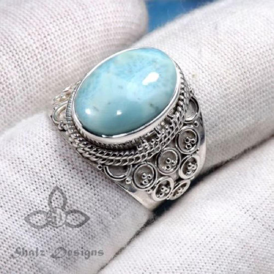 Beautiful Blue Moonstone Ring 925 silver Size 7 - 2