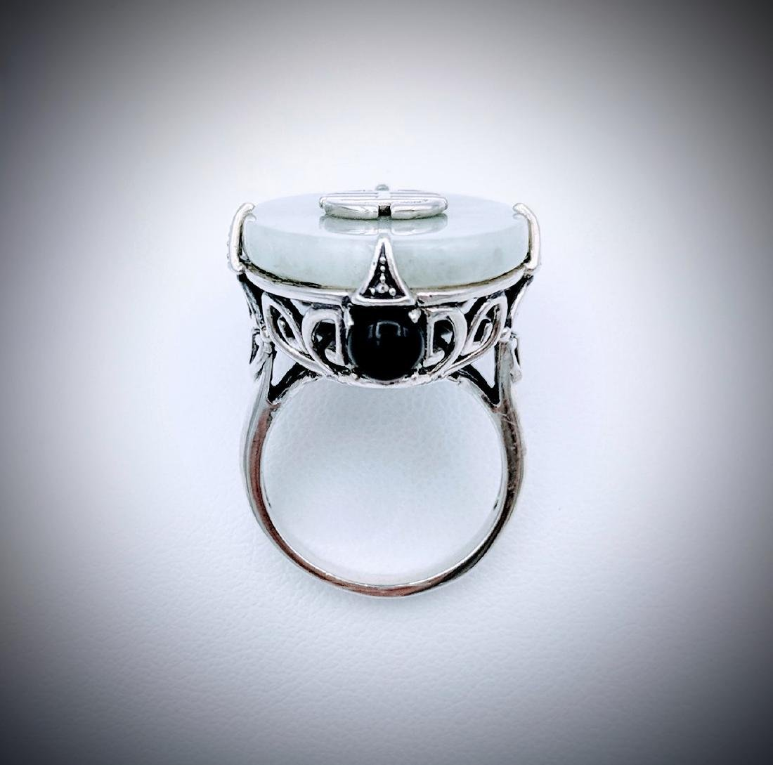 Sterling Silver Imperial Designed Jade and Black Onyx - 2