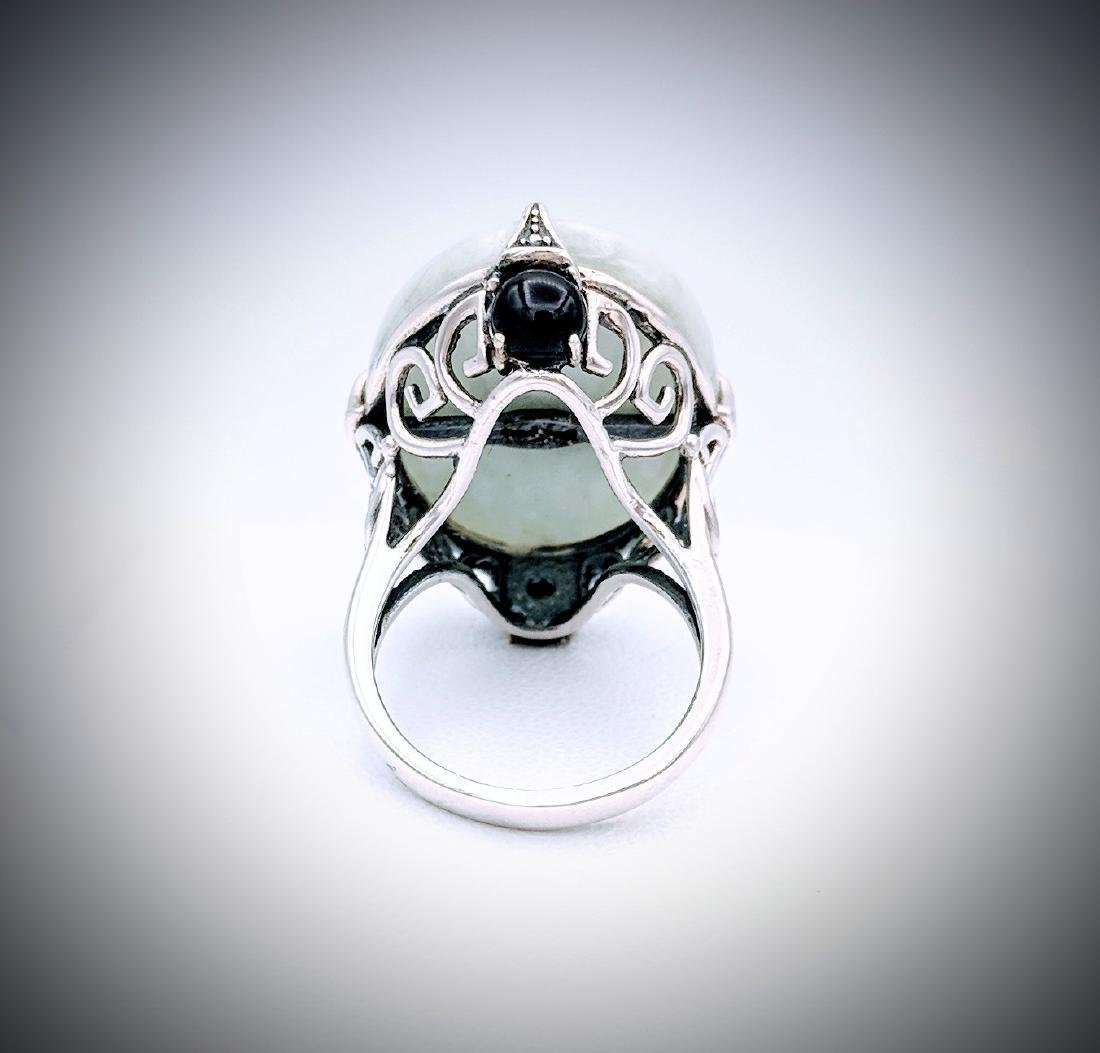 Sterling Silver Imperial Designed Jade and Black Onyx - 3