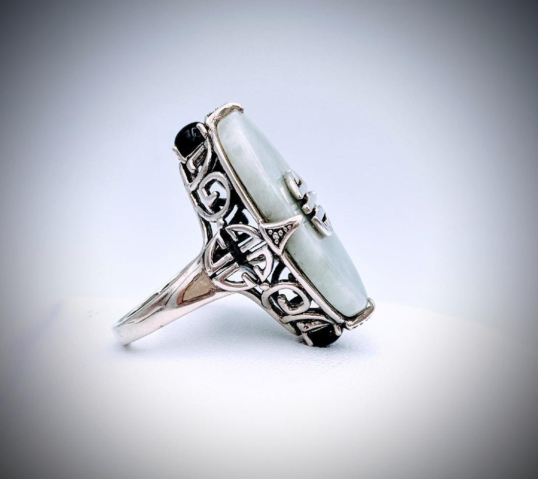 Sterling Silver Imperial Designed Jade and Black Onyx - 4