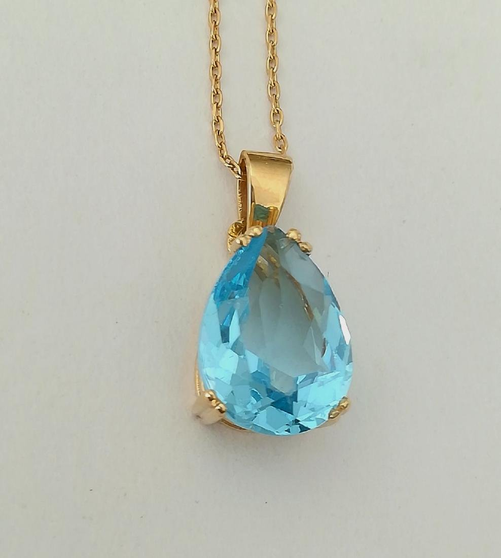 19.2 carat gold necklace With Topaz 13,9x9,9mm - 4,5