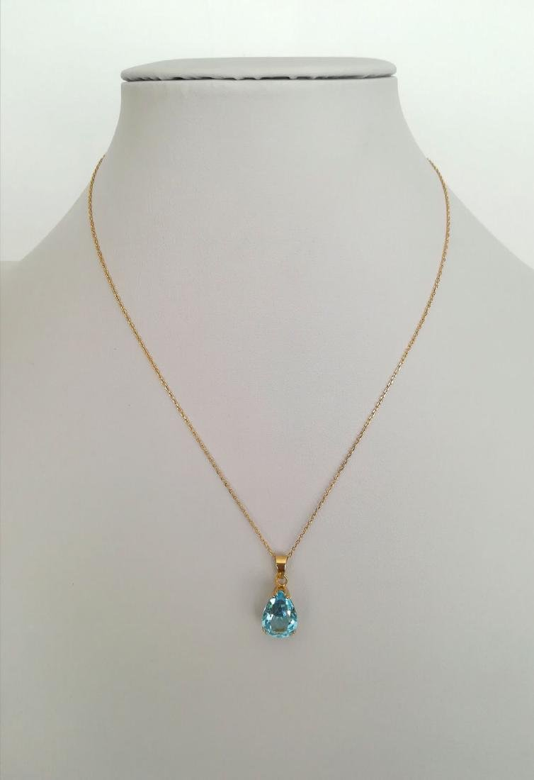 19.2 carat gold necklace With Topaz 13,9x9,9mm - 4,5 - 2