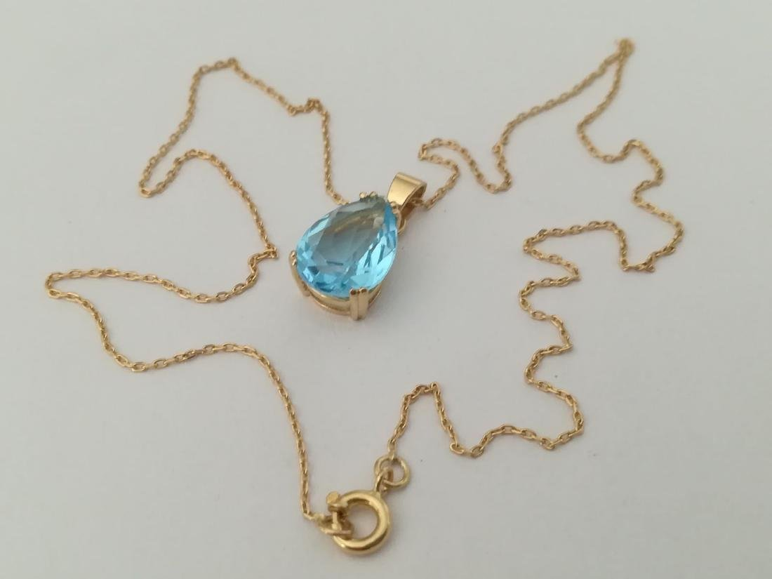 19.2 carat gold necklace With Topaz 13,9x9,9mm - 4,5 - 3