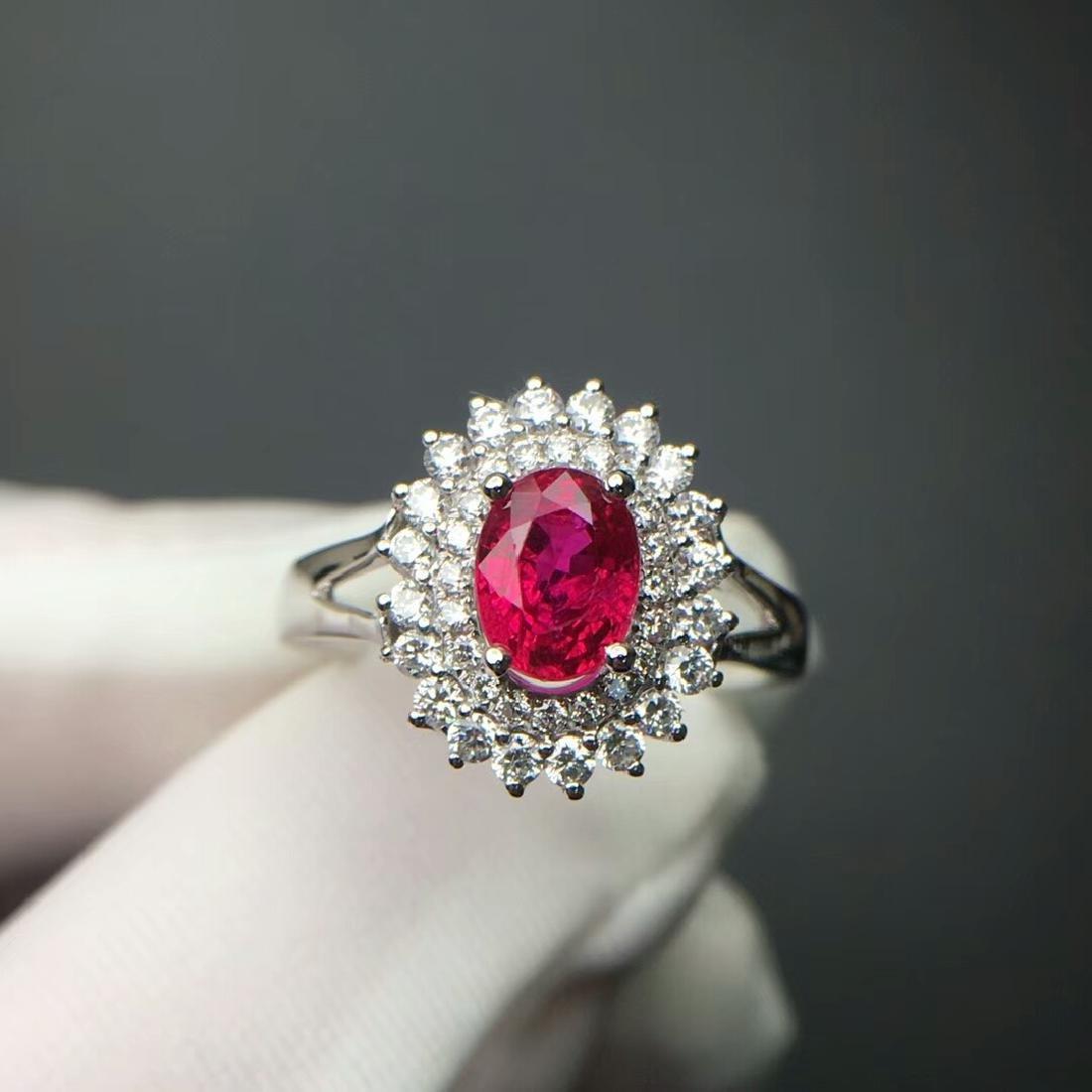 1.14 CTW Ruby & VS Diamond Ring 18K