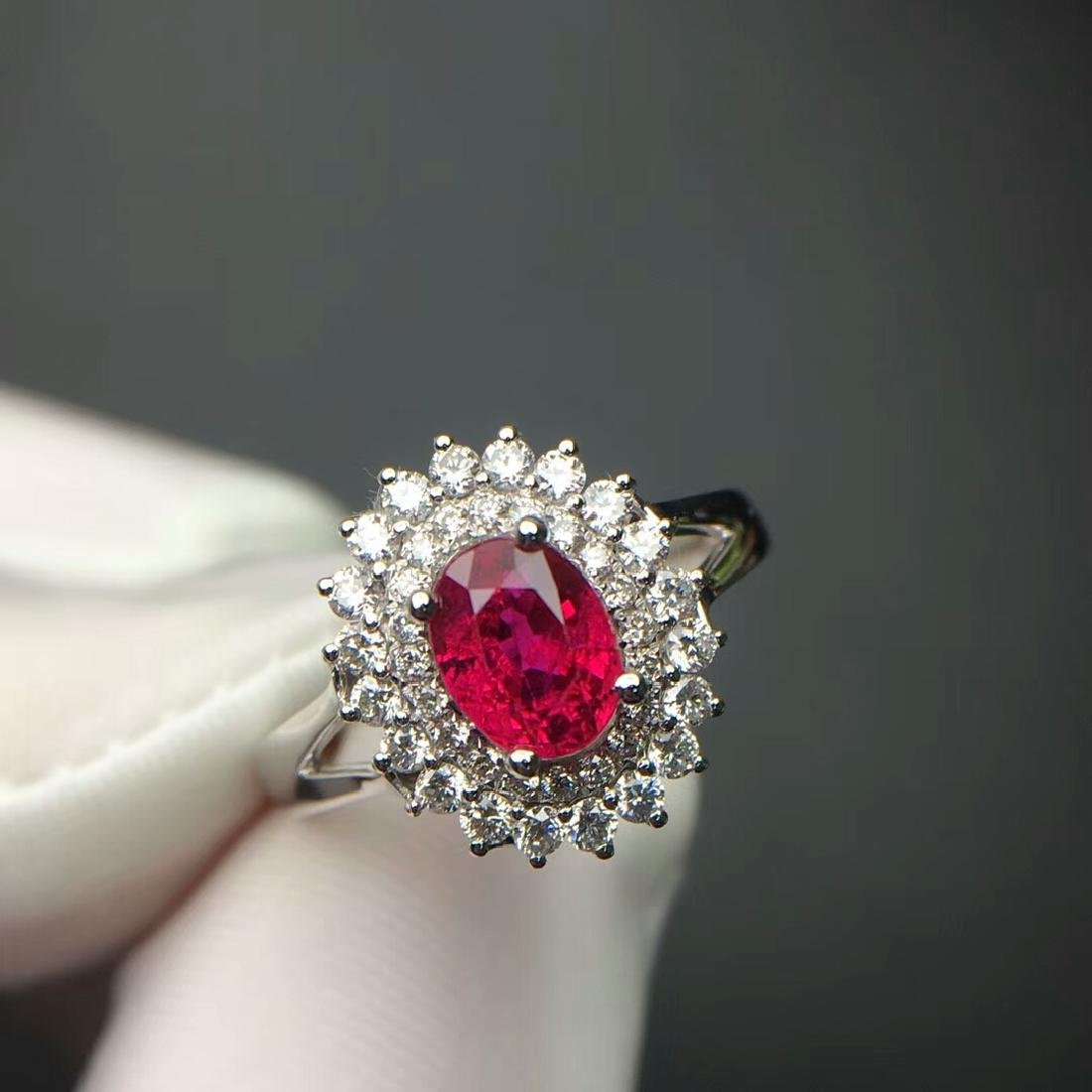 1.14 CTW Ruby & VS Diamond Ring 18K - 2