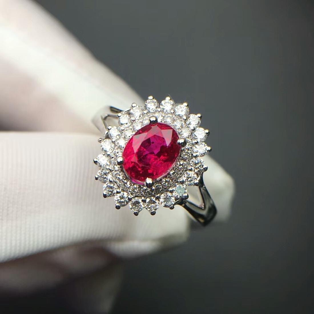 1.14 CTW Ruby & VS Diamond Ring 18K - 3